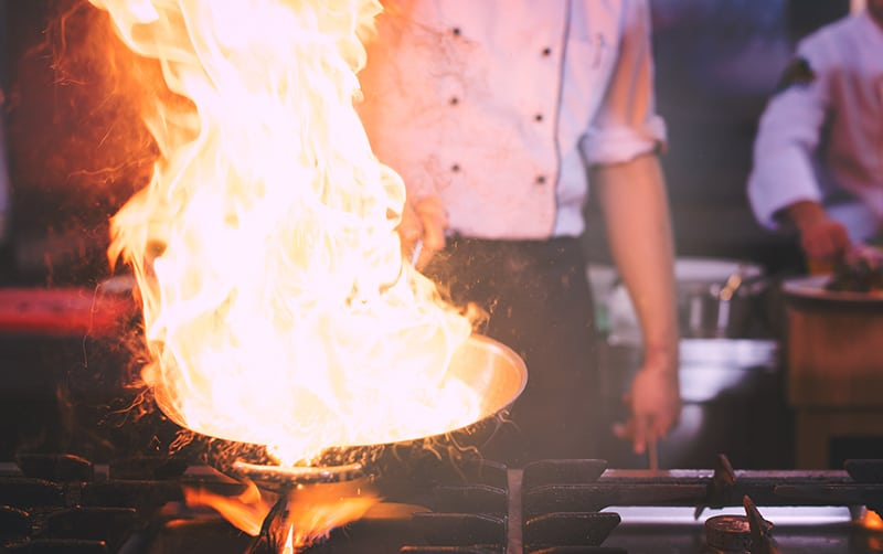 Chef doing flambe